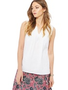MAINE NEW ENGLAND Sleeveless Embroidered Notch Neck Top