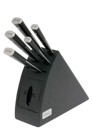 WILTSHIRE Staysharp 6 piece black wooden knife block set with triple rivet knivesAnd in-built sharpener